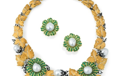 Cultured pearl, emerald and diamond demi-parure, 'Bouquet', Gianmaria Buccellati, 1997 & 2009