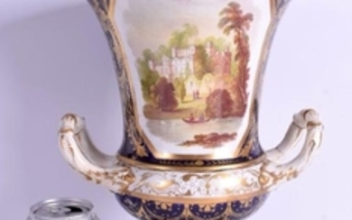 AN EARLY 19TH CENTURY DERBY TWIN HANDLED CAMPAGNA URN