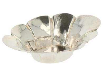Bonbon dish oval hammered and scalloped model with flared sides silver.