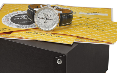 BREITLING. A FINE 18K WHITE GOLD AUTOMATIC LIMITED EDITION CHRONOGRAPH WRISTWATCH WITH DATE AND LACQUERED SILVER DIAL, MADE TO COMMEMORATE THE 50TH ANNIVERSARY OF THE NAVITIMER, SIGNED BREITLING, NAVITIMER, LIMITED EDITION 08/50, REF. J41322, CASE NO....