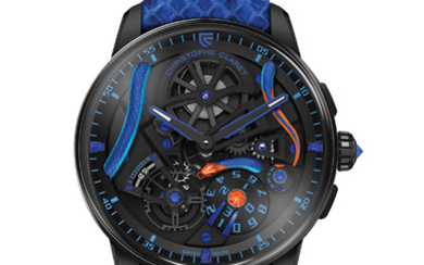 CHRISTOPHE CLARET MAESTRO CORAIL At the heart of the Maestro Corail is placed a coral snake. Wrapped around the movement, its undulating hand-engraved body creates a powerful contrast between the tangy blue and orange brilliancy of its scales and the...,