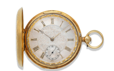 E. J. Dent, London. A good 18K gold key wind full hunter pocket watch with finely engraved case