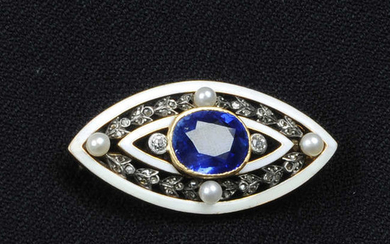 An early 20th century gold sapphire, diamond, seed