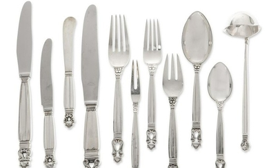 A Georg Jensen silver Acorn flatware set for twelve