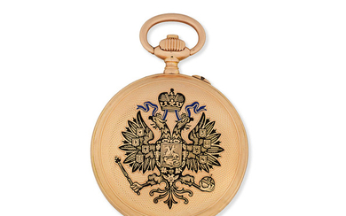 Haber Type. A 14K gold keyless wind full hunter pocket watch made for the Russian Market