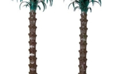 A Pair of Italian Tole Paint Wall Mounted Palm Trees