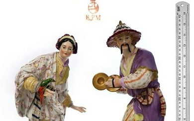 """Large Pair of 19th C. KPM Chinoiserie Figures 16"""""""