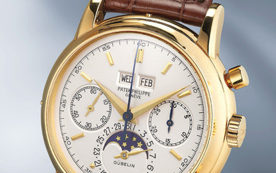 Patek Philippe, Ref. 2499/100 A very fine and rare yellow gold perpetual calendar chronograph wristwatch with moonphases and original certificate