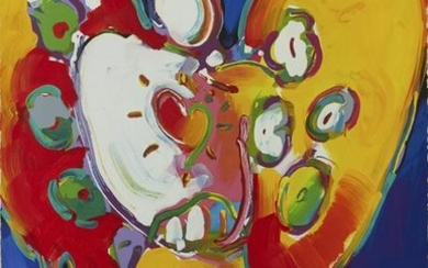 "Peter Max ""Angel with Heart"" Oil on Paper"