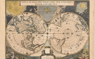 "Superb World Map on a Polar Projection, ""Novus Planiglobii Terrestris per Utrumque Polum Conspectus"", Blaeu/Valck"