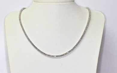 6.36 Ct tennis Diamond necklace in 18kt gold - Size: 44 cm. NO reserve price.