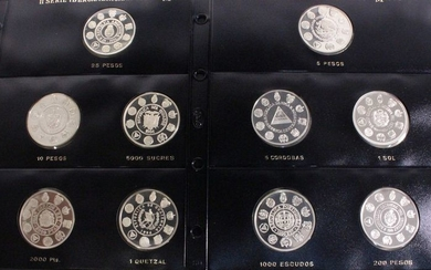 World - Collection various coins 1994/1995 'Ibero American Series' (10 different)- Silver
