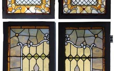 Two Pairs of Leaded Stained Glass Windows