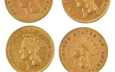 Group of Six, Three Dollar Gold Coins
