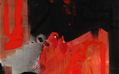 Jens Birkemose: Red composition, 1996. Signed and dated on the reverse. Oil on canvas. 120×96 cm.