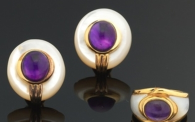 Vermeil, Mother of Pearl and Amethyst Cabochon Ring and Earrings Set by KA- YIN LO