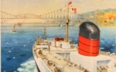 """1907/721: Charles E. Turner: """"Cunard to Canada"""". Signed in print C. E. Turner. Lithographic poster in colours. Sheet size 100 x 62 cm. Unframed."""