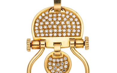 Diamond, Gold Pendant, Trabucco The pendant features single-cut diamonds...