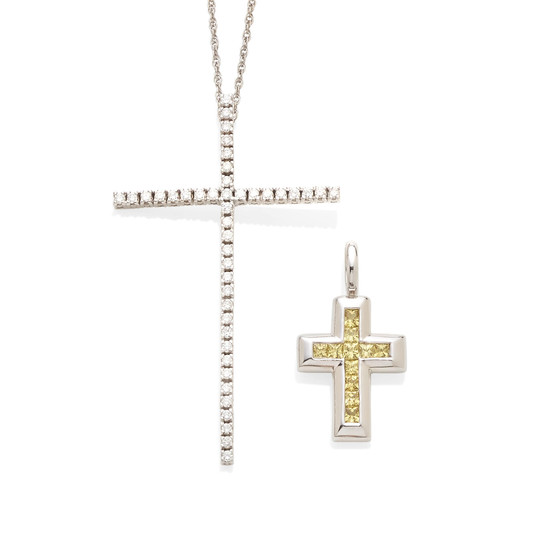A yellow sapphire cross pendant and 18K white gold and diamond cross pendant