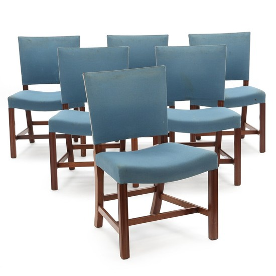 Lot Art Kaare Klint The Red Chair Set Of Six Dining Chairs With Mahogany Frame Made By Rud Rasmussen Cabinetmakers 6