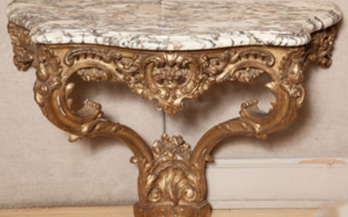 Louis XV Style Giltwood and Marble Top Console Table