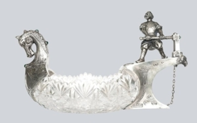 An Imperial Russian Silver and Crystal Ladle, 4th artel marks.