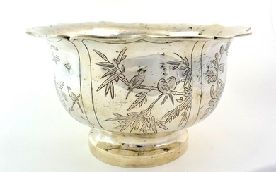 A Silver Bowl, probably Chinese, indistinct maker's mark probably LS,...