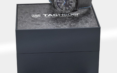 TAG HEUER. A PVD-COATED TITANIUM AUTOMATIC WRISTWATCH WITH DATE, ORIGINAL WARRANTY AND BOX, SIGNED TAG HEUER, AQUARACER, CALIBRE 5, 300M / 1000FT, REF. WBD218C-0, CASE NO. RTE5691, CIRCA 2018