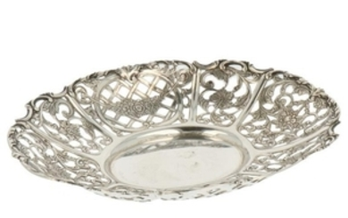 Puffs basket openwork model with cast rocailles and floral decorations silver.