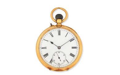 An 18K gold keyless wind open face pocket watch