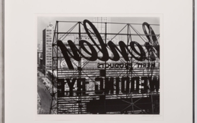 ABBOTT, BERENICE (1898-1991) Reverse of sign, Columbus Circle,