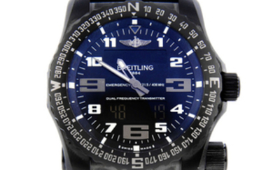 BREITLING - a gentleman's PVD-treated titanium Emergency Night Mission chronograph wrist watch.