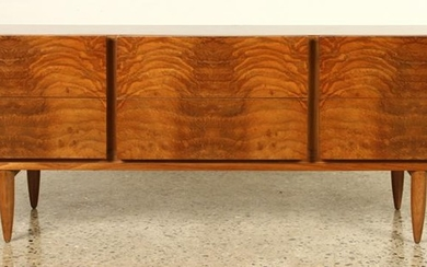 MID CENTURY MODERN DRESSER EXOTIC CUTS OF WALNUT