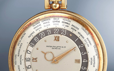 Patek Philippe, Ref. 605 A rare and elegant yellow gold open face world-time pocket watch with box