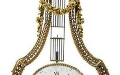 Louis XVI Gilt Bronze and Marble Lyre Form Clock