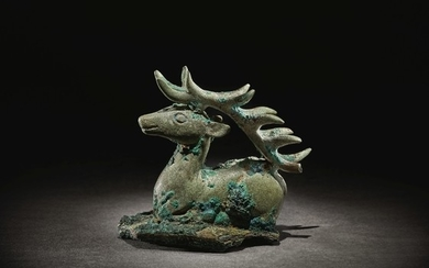 A RARE BRONZE FIGURE OF A STAG 4TH - 3RD CENTURY BC