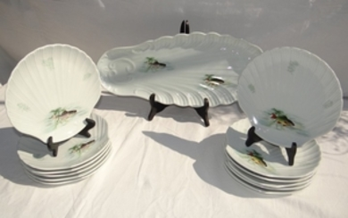 13 PC. FRENCH PORCELAIN FISH SERVICE
