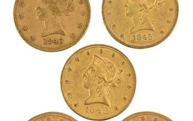 Group of Five, Ten Dollar Gold Coins