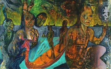 """Hans Oldau Krull: Composition from """"Dream boats"""". Signed and dated H Krull, 08. Acryllic on board. 98×140 cm."""
