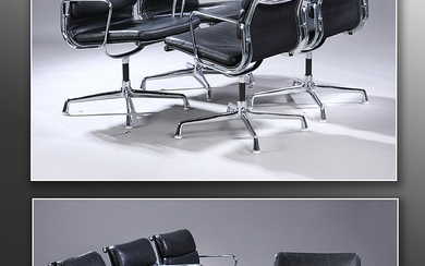 Charles Eames. A set of eight Soft Pad lounge chairs, Model EA-208, black patinated leather (8)