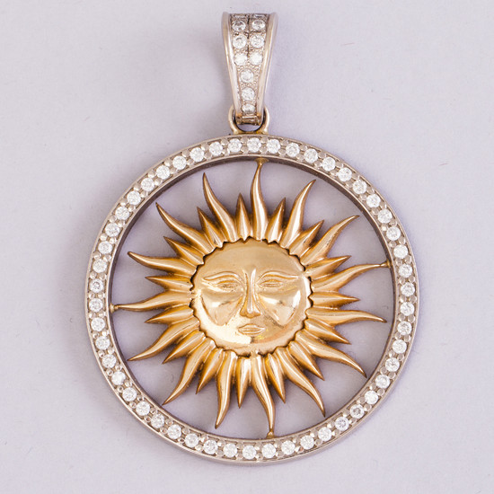 A red and white gold pendant with dimonds ca 2.4 ct. J Böckerman Helsinki 2010, 68 g |