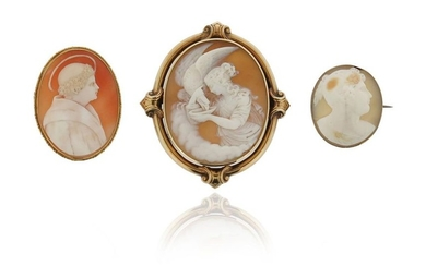 A Victorian shell cameo brooch, depicting Hebe and...