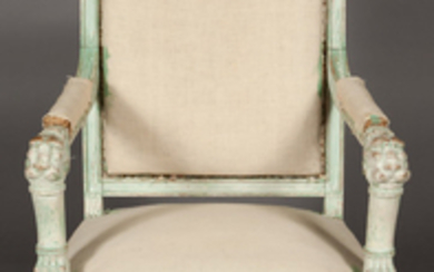 Pair of Empire Style Painted Armchairs