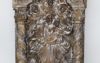 Early 19th Century Spanish Retablo of Madonna and Child Relief Plaque