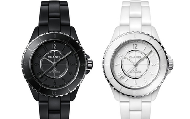 CHANEL THE J12 INSEPARABLE FOR ONLY WATCH 2019 Chanel the J12 inséparables for Only Watch An historic pair of the first unique black and white matte ceramic J12, with a special black execution of the new self winding Caliber 12.1 visible through a...,