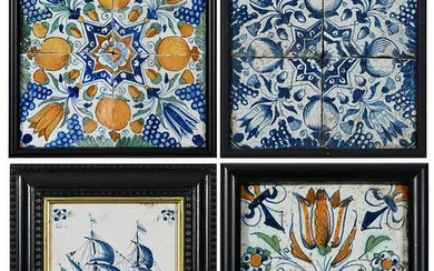 Four 17th Century Framed Panels of Delft Tiles