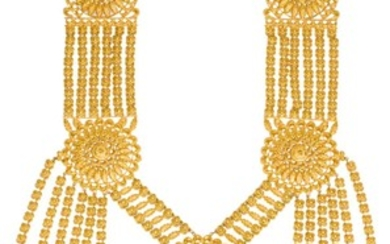 A GARLAND-TYPE GOLD NECKLACE, PROBABLY SOUTH INDIA