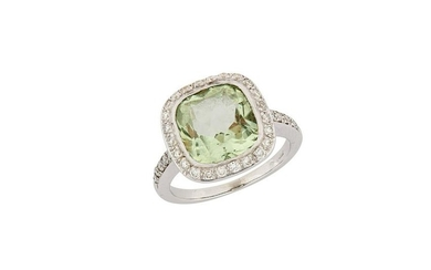A green quartz and diamond dress ring, by Boodles