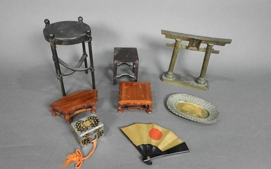 8 JAPANESE STANDS, BOX, FAN, DISH & CERAMONIAL ARCHWAY