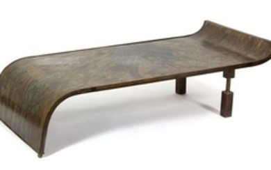 A Philip and Kelvin LaVerne Bronze Clad Wood Low Table